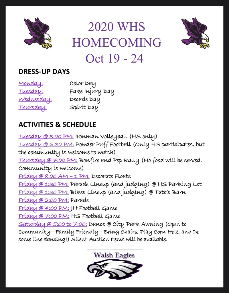 HOCO Schedule of Events