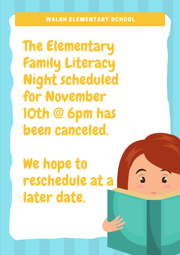 Literacy Night Canceled